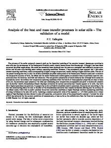 Analysis of the heat and mass transfer processes in solar stills The validation of a model