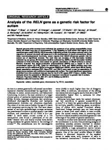 Analysis of the RELN gene as a genetic risk factor for autism