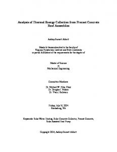 Analysis of Thermal Energy Collection from Precast Concrete Roof Assemblies