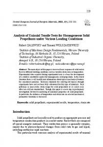 Analysis of Uniaxial Tensile Tests for Homogeneous Solid Propellants under Various Loading Conditions