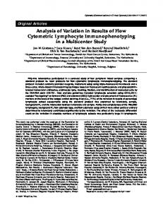 Analysis of Variation in Results of Flow Cytometric Lymphocyte Immunophenotyping in a Multicenter Study
