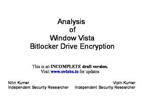Analysis of Window Vista Bitlocker Drive Encryption