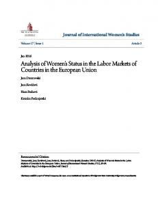 Analysis of Women's Status in the Labor Markets of Countries in the European Union