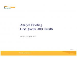 Analyst Briefing First Quarter 2010 Results