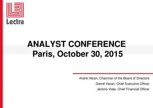ANALYST CONFERENCE Paris, October 30, 2015