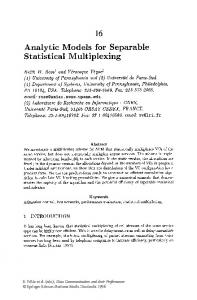 Analytic Models for Separable Statistical Multiplexing