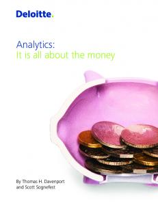Analytics: It is all about the money