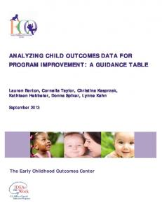 ANALYZING CHILD OUTCOMES DATA FOR PROGRAM IMPROVEMENT: A GUIDANCE TABLE