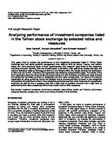 Analyzing performance of investment companies listed in the Tehran stock exchange by selected ratios and measures
