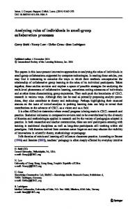 Analyzing roles of individuals in small-group collaboration processes