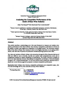 Analyzing the Competitive Performance of the South African Wine Industry