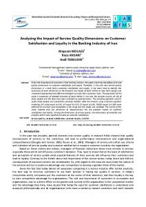 Analyzing the Impact of Service Quality Dimensions on Customer Satisfaction and Loyalty in the Banking Industry of Iran