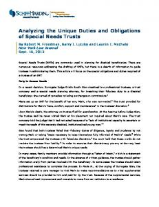 Analyzing the Unique Duties and Obligations of Special Needs Trusts