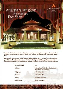 Anantara Angkor. Fact Sheet. Resort & Spa