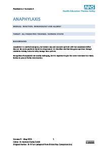 ANAPHYLAXIS. Paediatrics > Scenario 3