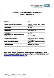 ANAPHYLAXIS TREATMENT GUIDELINES (ADULT AND CHILD)