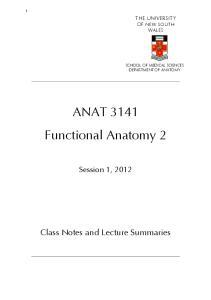 ANAT 3141 Functional Anatomy 2