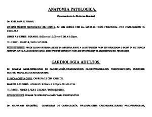 ANATOMIA PATOLOGICA. CARDIOLOGIA ADULTOS