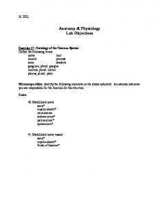 Anatomy & Physiology Lab Objectives