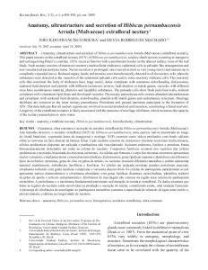 Anatomy, ultrastructure and secretion of Hibiscus pernambucensis Arruda (Malvaceae) extrafloral nectary 1
