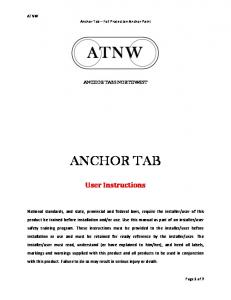 ANCHOR TAB. User Instructions ANCHOR TABS NORTHWEST