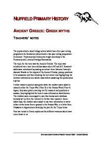 ANCIENT GREECE: GREEK MYTHS