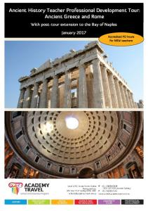 Ancient History Teacher Professional Development Tour: Ancient Greece and Rome