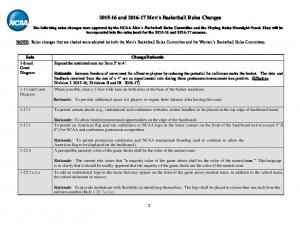 and Men s Basketball Rules Changes