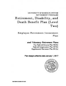 and Voluntary Retirement Plans Tax Deferred Annuity Plan 403(b) Deferred Compensation Plan 457(b) Supplemental Retirement Plan 401(a)
