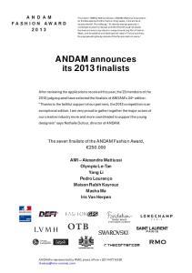 ANDAM announces its 2013 finalists