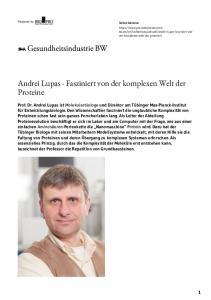 Andrei Lupas - Fasziniert von der komplexen Welt der Proteine