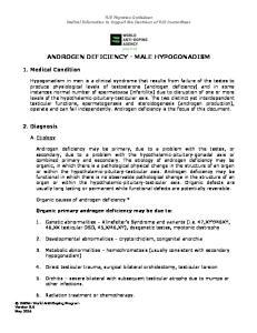 ANDROGEN DEFICIENCY - MALE HYPOGONADISM