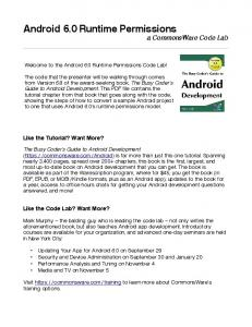 Android 6.0 Runtime Permissions a CommonsWare Code Lab