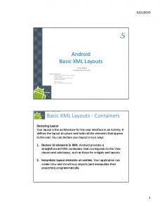 Android Basic XML Layouts. Basic XML Layouts Containers