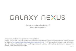 Android mobilna tehnologija 4.0 Navodila za uporabo