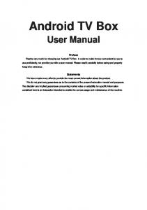 Android TV Box. User Manual. Preface