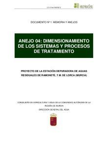 ANEJO 04: DIMENSIONAMIENTO DE LOS SISTEMAS Y PROCESOS DE TRATAMIENTO