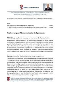 Anerkennung von Mezzaninekapital als Eigenkapital