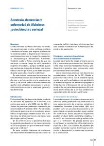 Anestesia, demencias y enfermedad de Alzheimer: coincidencia o certeza?