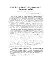 Anestesia Disociativa con Clorhidrato de Ketamina (Ketalar)