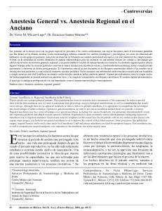 Anestesia General vs. Anestesia Regional en el Anciano Dr. Victor M. Whizar-Lugo*, Dr. Francisco Santos-Moreno**