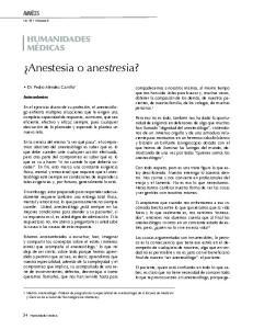 Anestesia o anestresia?