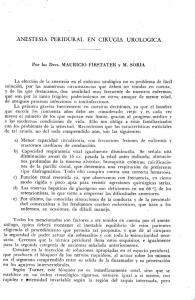 ANESTESIA PERIDURAL EN CIRUGIA UROLOGICA