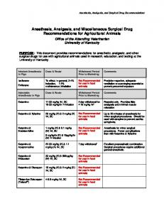 Anesthesia, Analgesia, and Miscellaneous Surgical Drug Recommendations for Agricultural Animals