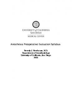 Anesthesia Preoperative Evaluation Syllabus