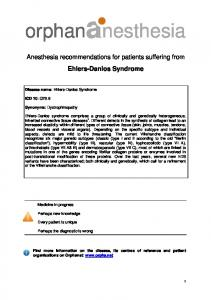 Anesthesia recommendations for patients suffering from Ehlers-Danlos Syndrome