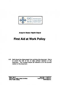 Aneurin Bevan Health Board First Aid at Work Policy
