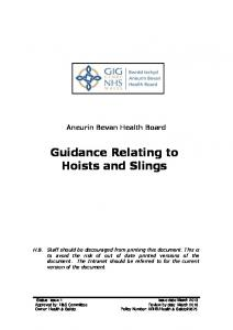 Aneurin Bevan Health Board Guidance Relating to Hoists and Slings