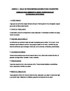 ANEXO 1. HOJA DE RECOMENDACIONES PARA PACIENTES
