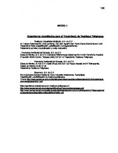 ANEXO 1. Organismos Acreditados para el Tratamiento de Residuos Peligrosos
